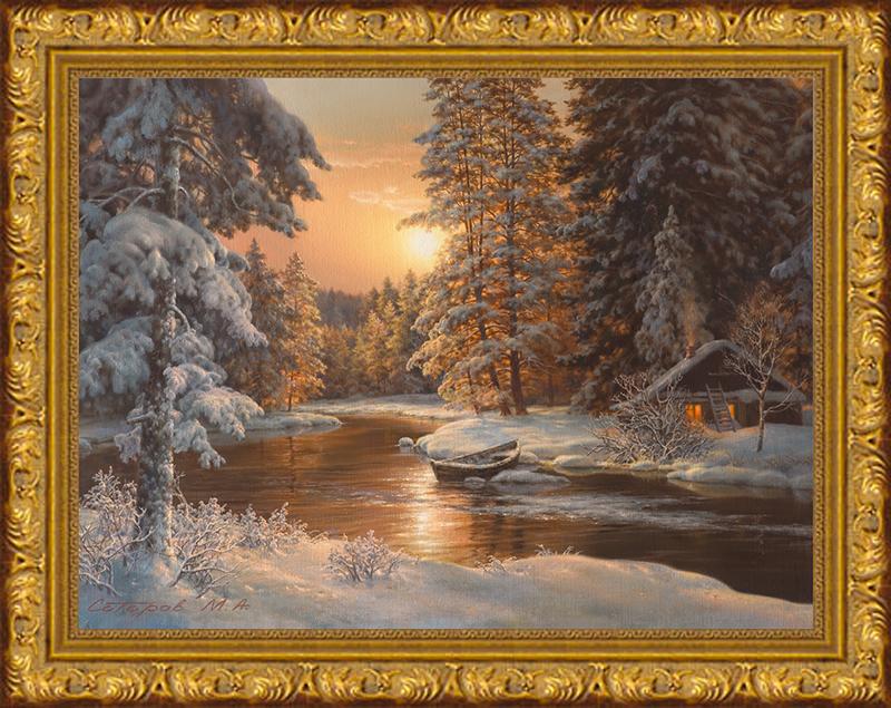 Вышивка крестом зимний лес