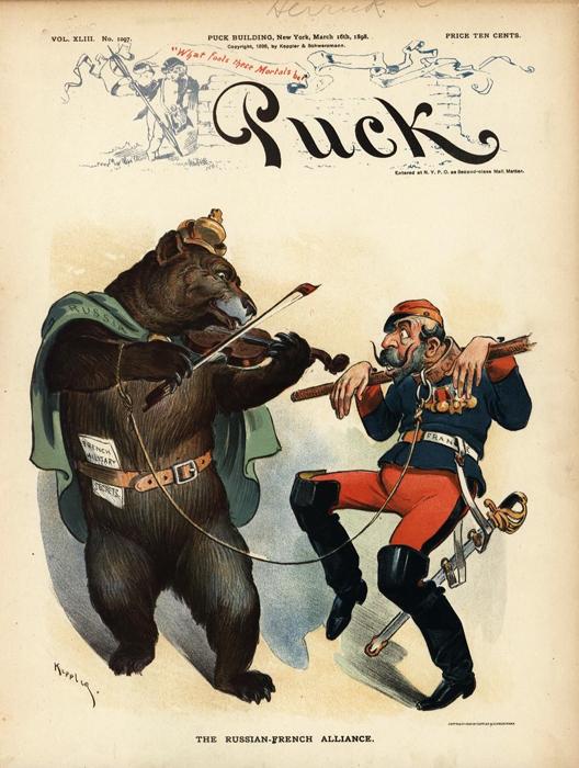 Русско-французский альянс (The Russian-French Alliance). Обложка журнала 'Puck', № 43. США, 1898 год фото
