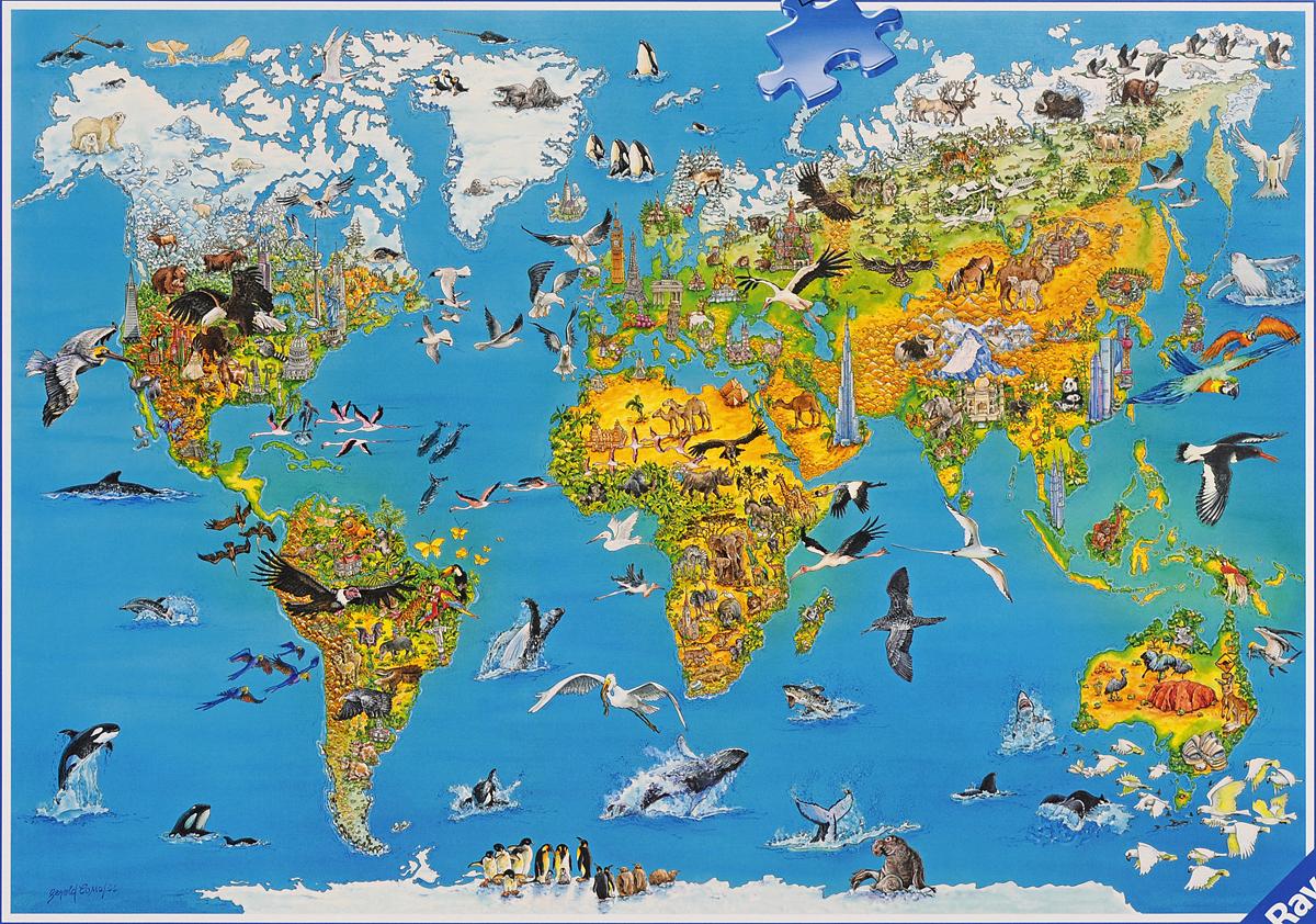 случаются карта мира с картинками животных этом
